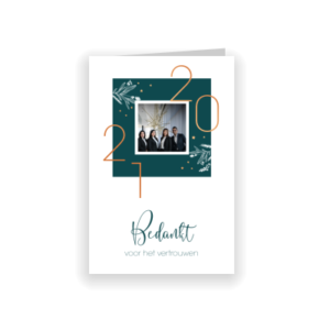 Chique nieuwjaarskaart met koperfolie en foto (proefdruk)