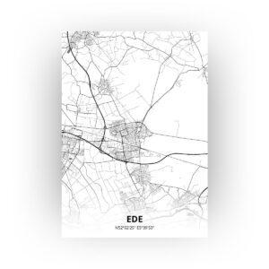 Poster Ede Plattegrond - A0 - Zwart Wit stijl