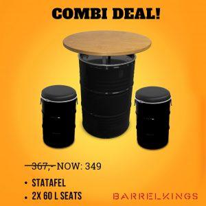 Barrelkings CombiDeal Statafel en twee 60 l zitjes