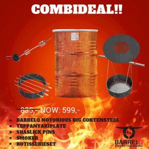 CombiDeal BarrelQ Notorious Big CorTenStaal de Works (barbecue plus alle add-ons)