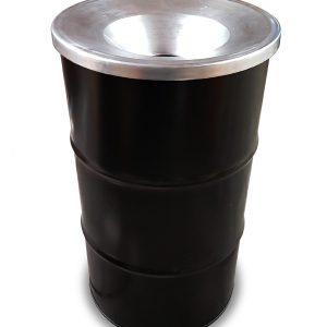 Barrelkings BinBin Flame Industriële prullenbak zwart 120 Liter olievat met vlamwerend deksel