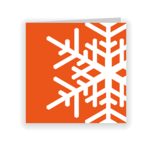 Oranje kerstkaart met witte sneeuwvlok (proefdruk)