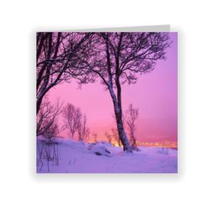kerstkaart sneeuw roze lucht (proefdruk)