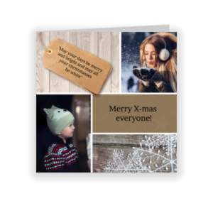 Moderne kerstkaart met foto's (proefdruk)