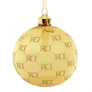 Roy Donders kerstbal RD-logo all over gold
