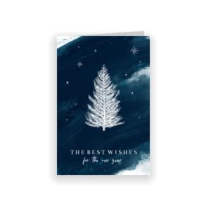 Stijlvolle zakelijke kerstkaart met blauwe watercolor (proefdruk)
