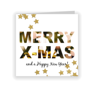 Stoere kerstkaart met foto in tekst (proefdruk)