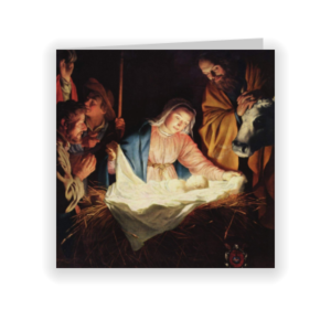 Traditionele kerstkaart met Maria en baby Jezus (proefdruk)